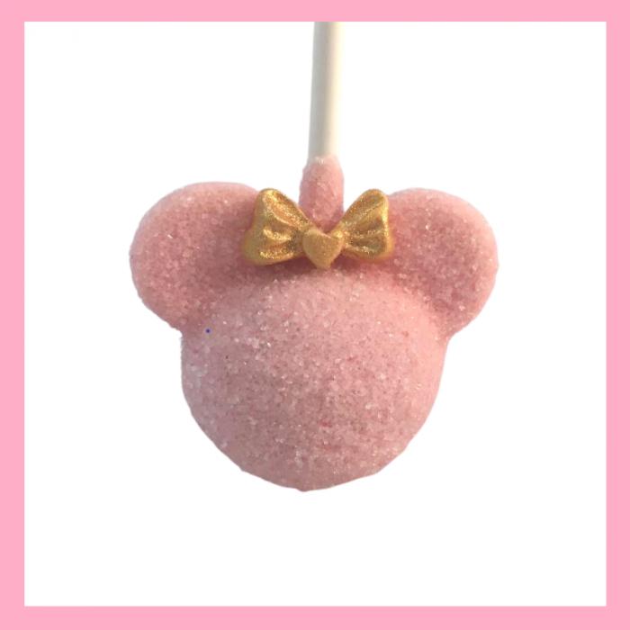 Sparkly Minnie silhouette cake pops